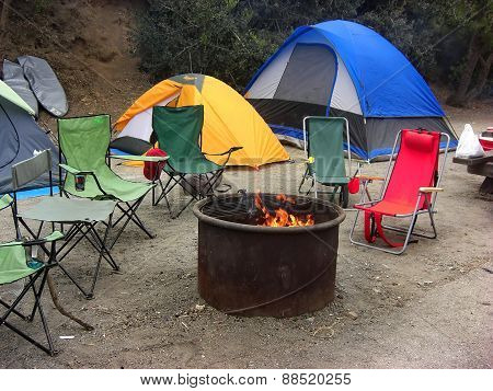 tent and the camp fire