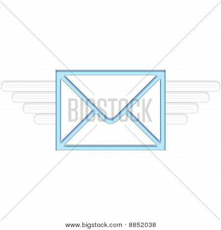 Air Mail delivery wings in blue color