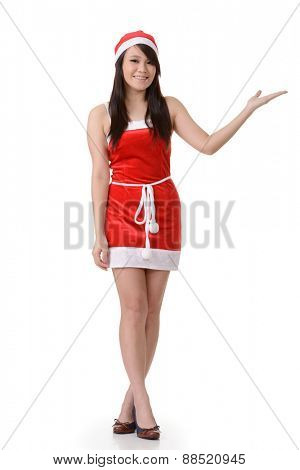 Asian Christmas girl introduce, full length portrait on white background.