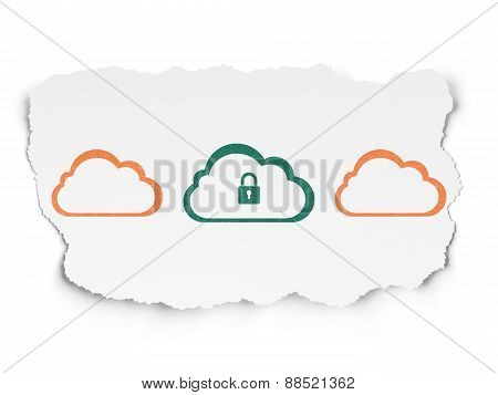 Cloud computing concept: cloud icon on Torn Paper background