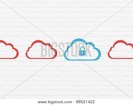 Cloud computing concept: cloud with padlock icon on wall