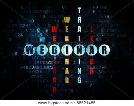 Education concept: word Webinar in solving Crossword Puzzle