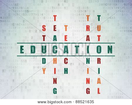 Education concept: word Education in solving Crossword Puzzle