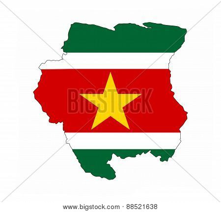 Suriname Flag Map