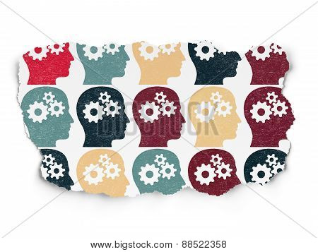 Business concept: Head With Gears icons on Torn Paper