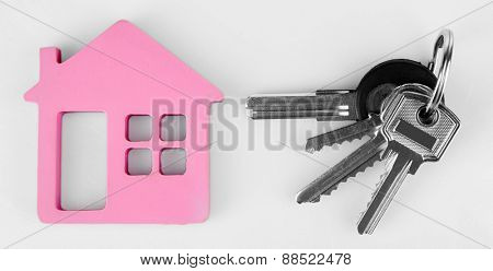 Keys with trinket on light background