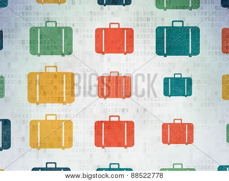 Travel concept: multicolor Bag icons on background