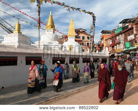 Monks And Peoples Walking Around Bodhnath Stupa - Nepal