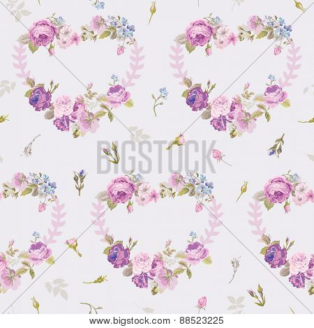 Spring Hearts Flowers Backgrounds - Seamless Floral Shabby Chic Pattern - in vector