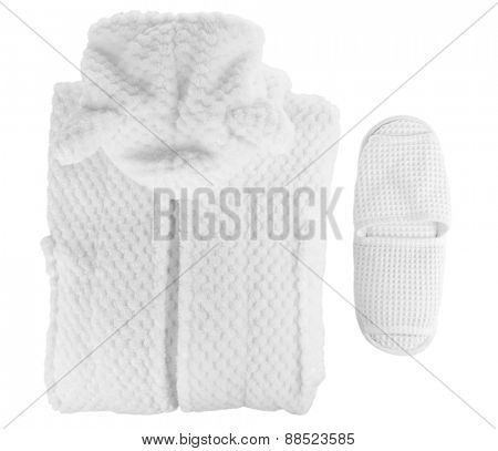 Bathrobe and slippers isolated on white