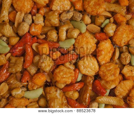 Snacks background with salty crunchy treats, Japanese Otsumami