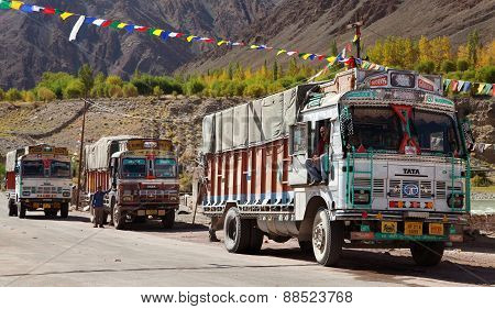 Colorful Trucks Brand Tata In Indian Himalayas