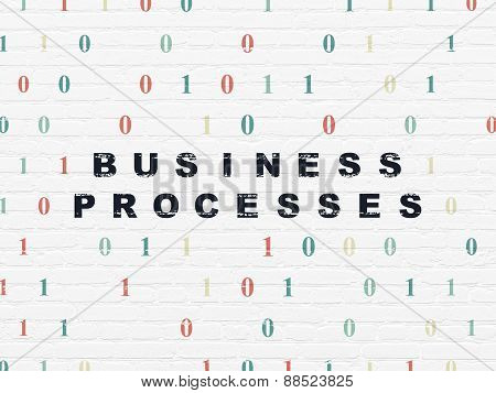 Business concept: Business Processes on wall background
