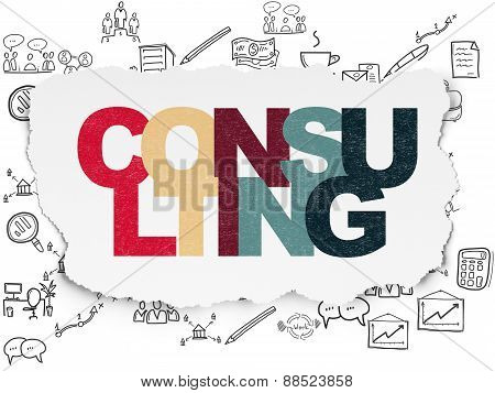 Finance concept: Consulting on Torn Paper background