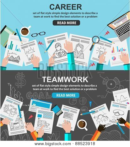 Design Concepts for team work and career, financial management or business strategy.. Ideal for corporate brochures, flyers, digital marketing, product or idea presentations, web banners and so on .