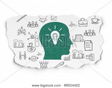 Business concept: Head With Light Bulb on Torn Paper background