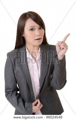 Business woman point, closeup portrait on white background.