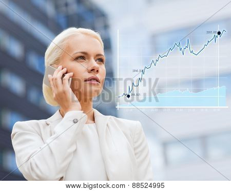 business, technology and people concept - serious businesswoman with smartphone talking over office building background