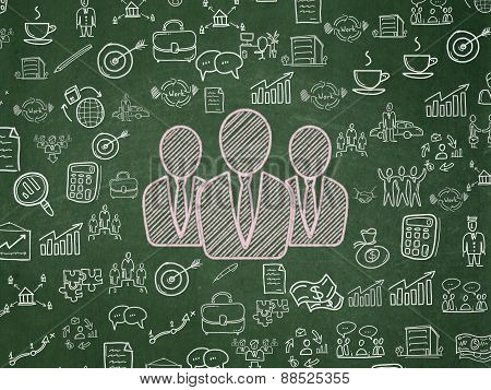 Finance concept: Business People on School Board background