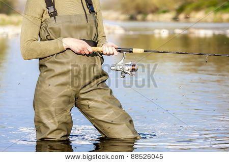 detail of fishing woman