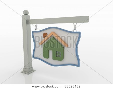 House Signboard On Post With Chains On White Background