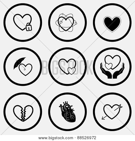 Heart shape set. Black and white set raster icons.