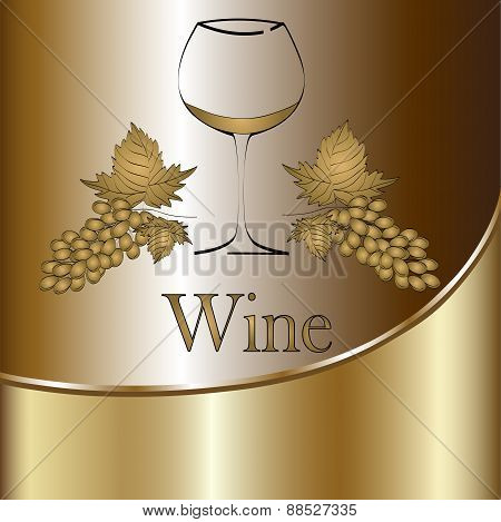 Wine Glass Concept Menu Design. Wine Glass With Grapes. Vector