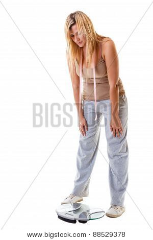Woman Plus Size With Scale, Weight Control