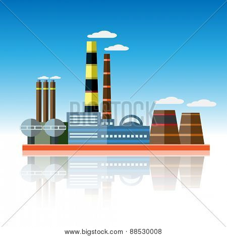 Icon of plant of industrial production. illustration.