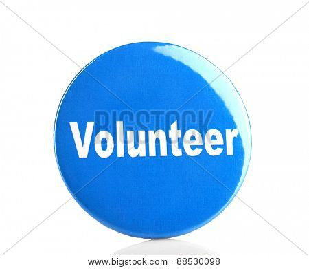 Round volunteer button isolated on white