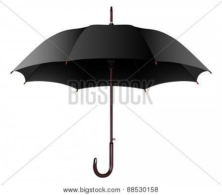 Illustration Open Black Umbrella Isolated on a White Background.