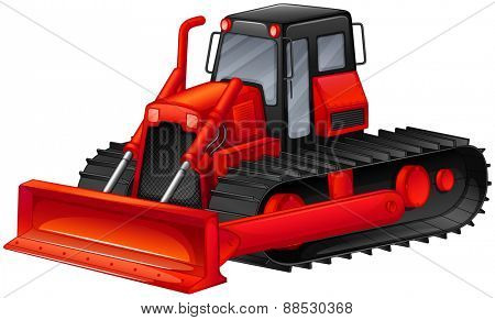 Close up red bulldozer with simple design