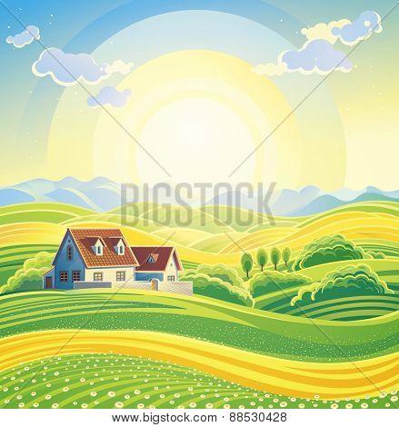 Sunny summer landscape with village.