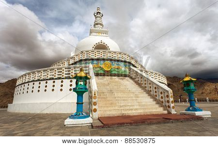 Tall Shanti Stupa Near Leh - Jammu And Kashmir