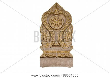 boundary marker of a temple thailand isolate white background with clippingpath