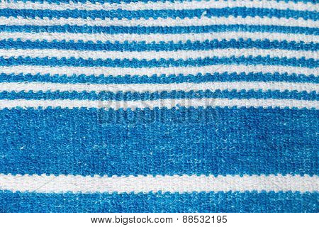 Towel With Blue Stripes. Macro Photography
