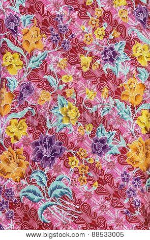 Pattern Flowers On Batik Fablic