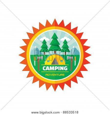 Camping adventure - vector badge illustration in flat style.