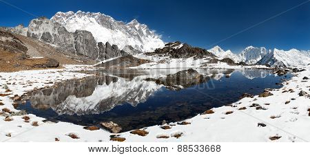 Panoramic View Of Lhotse And Nuptse With Lake