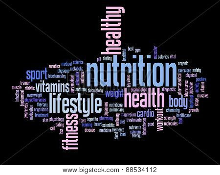Concept or conceptual abstract health diet or sport word cloud or wordcloud isolated on background