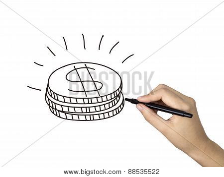 Coins Icon Drawn By Human Hand