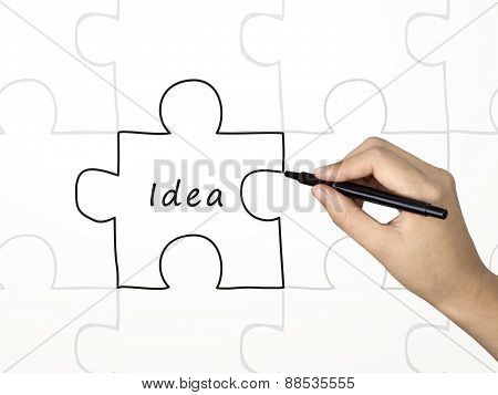Idea Word And Puzzle Drawn By Human Hand
