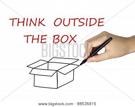 Think Outside The Box Drawn By Human Hand