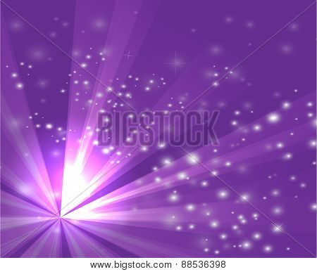A purple color design with a burst and rays