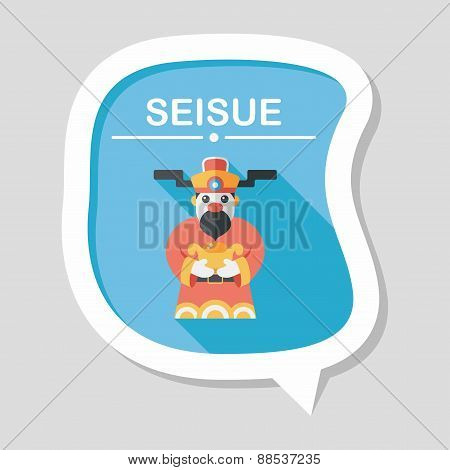 Chinese New Year Flat Icon With Long Shadow,eps10, God Of Wealth, stylish colors of vector illustrat