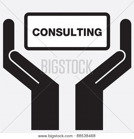 Hand showing consulting sign icon.