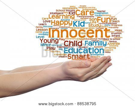 Concept or conceptual child education or family abstract word cloud, human man hand on white background