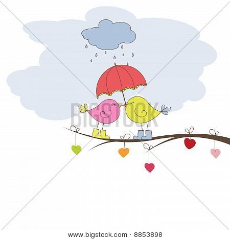 Romantic card with birds. Vector illustration