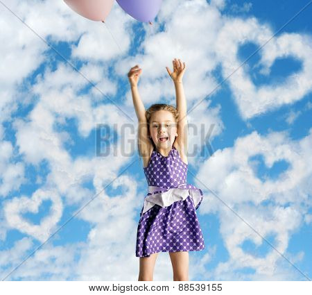 Happy little kid having an idea