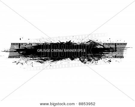 Grunge cinema banner with splash